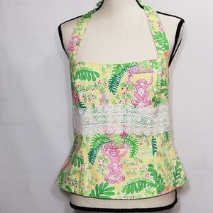 Lilly Pulitzer monkey print halter top sz 6